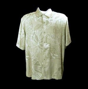 Cubavera Green Floral Hawaiian Shirt